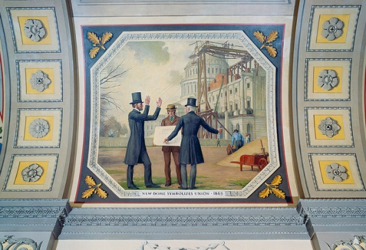 Mural by Allyn Cox in the U.S. Capitol depicts Lincoln and Capitol Architect Thomas U. Walter viewing construction of the Dome.